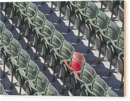 Lone Red Number 21 Fenway Park Wood Print