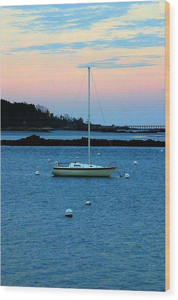 Lone Sailboat At York Maine Wood Print