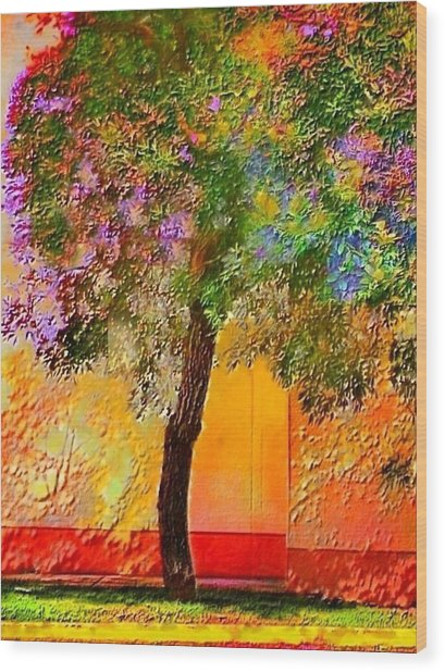 Lone Tree Against Orange Wall - Vertical Wood Print