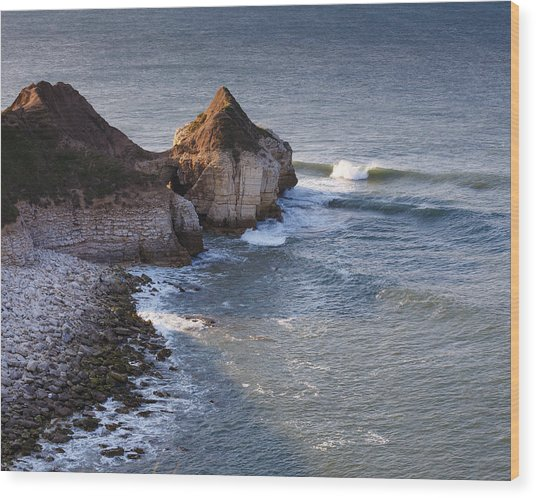 Lone Wave Breaking Wood Print