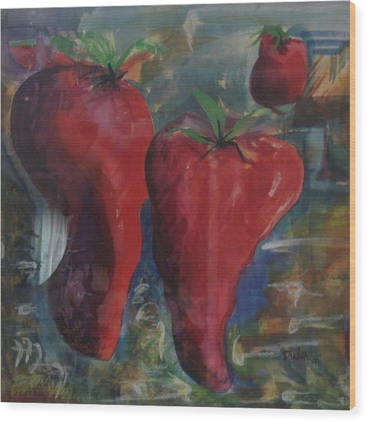 Lonely Peppers Wood Print by Bianca Romani