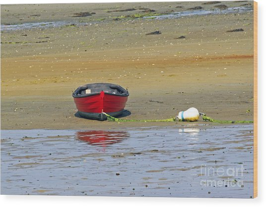 Lonely Red Boat Wood Print