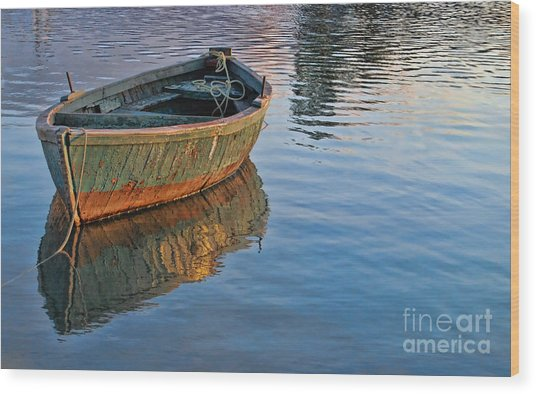 Lonely River Boat  Wood Print