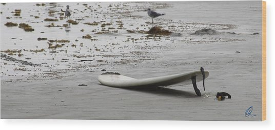 Lonely Surfboard Lg Wood Print
