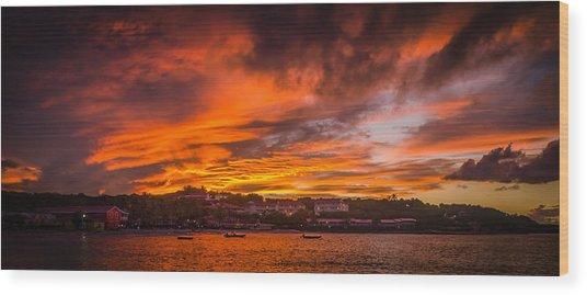 Long Bay Sunset Wood Print
