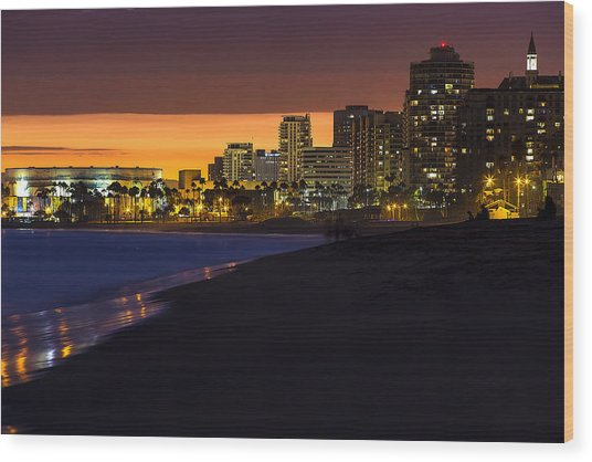 Long Beach Comes Alive At Dusk By Denise Dube Wood Print