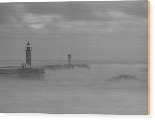 Long Exposure In Oporto In Bad Weather Wood Print