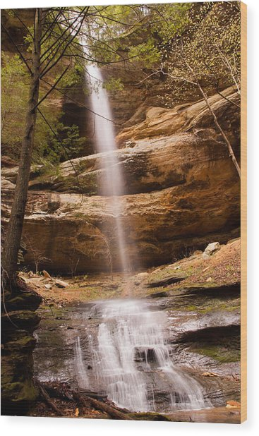 Long Hollow Waterfall Wood Print