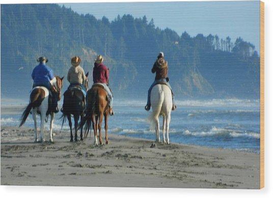 Longbeach Horses Wood Print