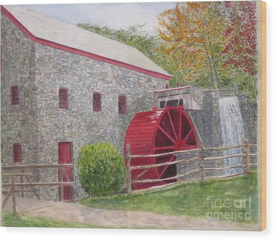 Longfellow's Gristmill Wood Print