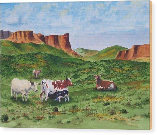 Longhorn Country Wood Print