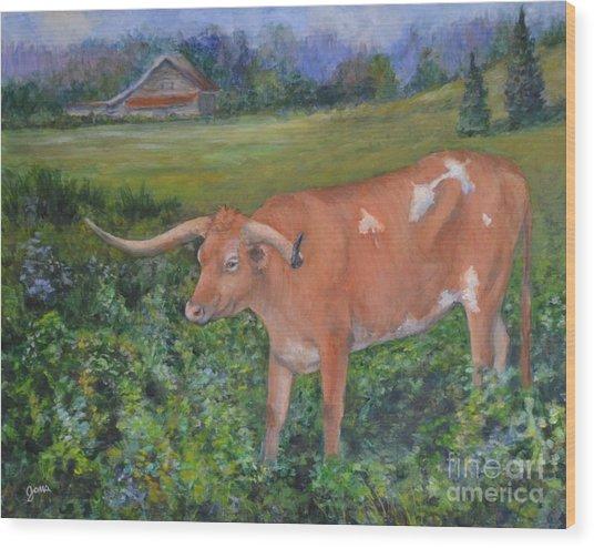 Longhorn Wood Print by Jana Baker