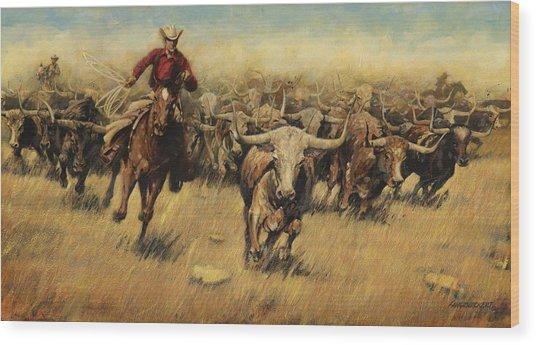 Longhorn Stampede Wood Print