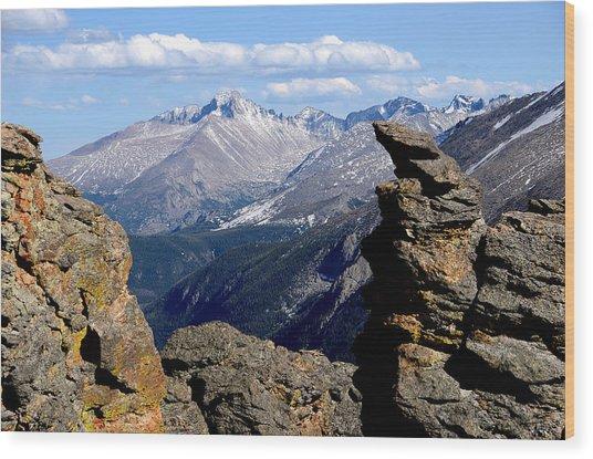 Long's Peak From The Rock Cut Wood Print