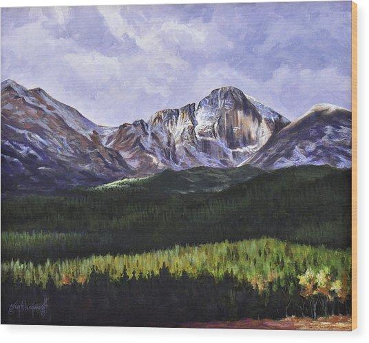 Longs Peak Glowing Wood Print