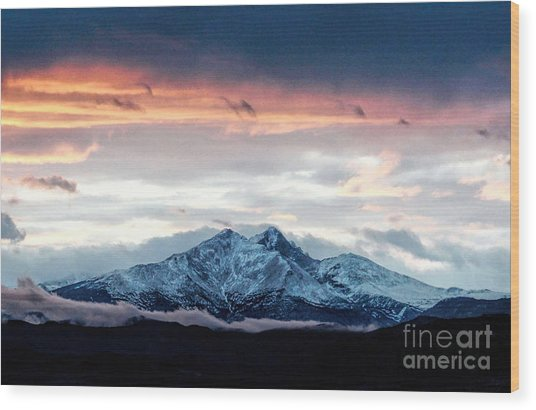 Longs Peak In Winter Wood Print