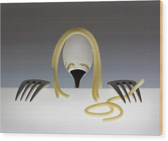 Look At Me, It's Spaghetti Hair! Part 2 Wood Print