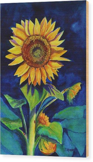 Midnight Sunflower Wood Print