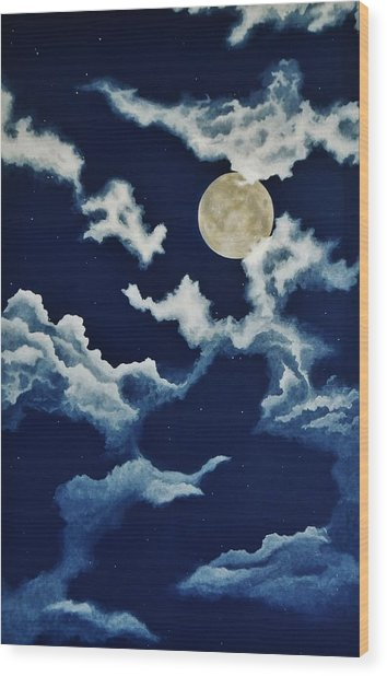 Look At The Moon Wood Print