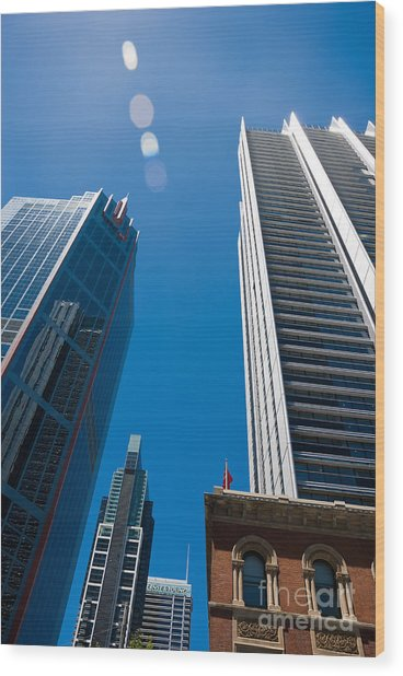Look Up To The Sky - Skyscrapers In Sydney Australia Wood Print