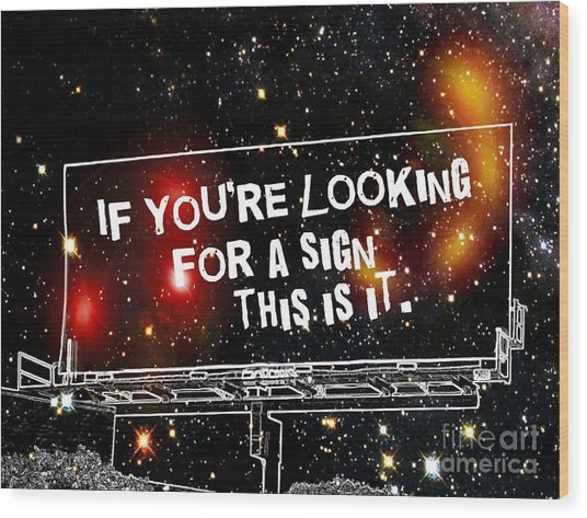 Looking For A Sign Wood Print by Daryl Macintyre