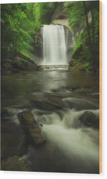 Looking Glass Waterfall In Colour Wood Print