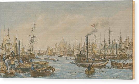 Looking Towards London Bridge Wood Print
