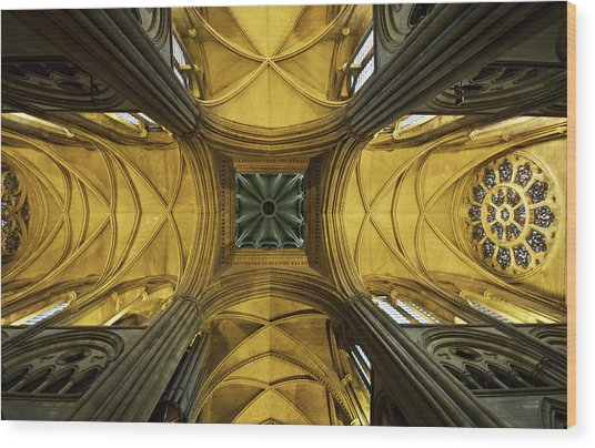 Looking Up At A Cathedral Ceiling Wood Print