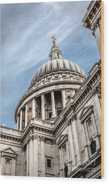 Looking Up At The Dome Of Saint Pauls Cathedral In London Wood Print