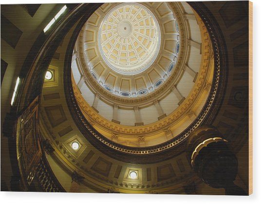 Looking Up The Capitol Dome - Denver Wood Print