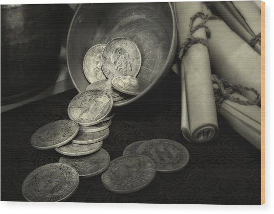Loose Change Still Life Wood Print