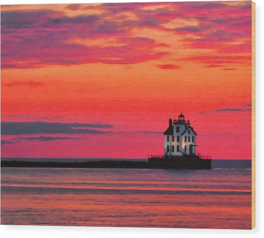Lorain Lighthouse At Sunset Wood Print