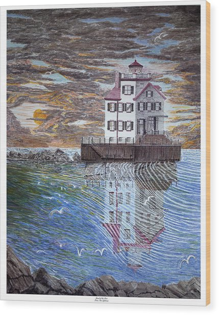 Lorain Lighthouse Wood Print by Frank Evans