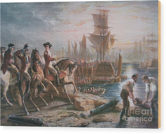 Lord Howe Organizes The British Evacuation Of Boston In March 1776 Wood Print