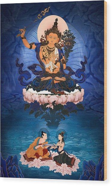 Lord Manjushri - Arya Nargajuna And The Naga Queen Wood Print by Ben Christian