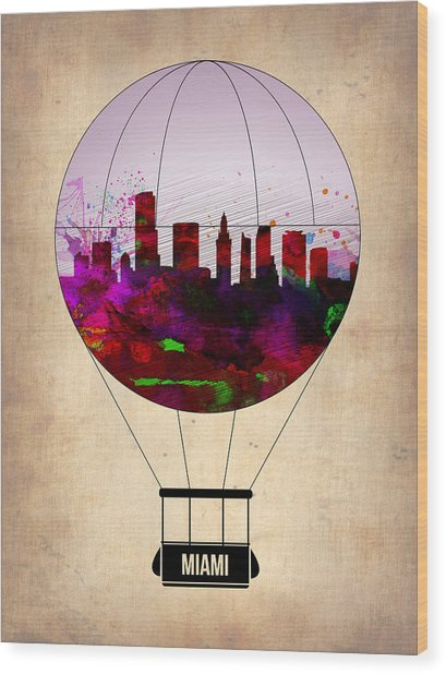 Miami Air Balloon 1 Wood Print