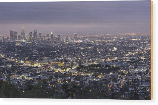 Los Angeles At Night From The Griffith Park Observatory Wood Print