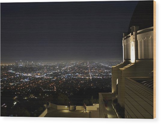 Los Angeles Skyline From Griffith Observatory Wood Print by David Lobos