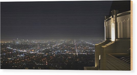 Los Angeles Skyline Panorama From The Griffith Observatory Wood Print by David Lobos