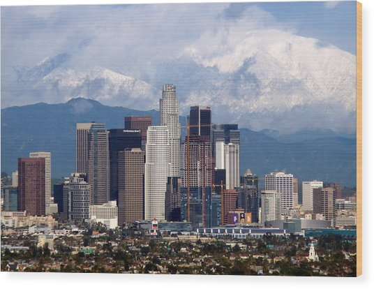 Los Angeles Skyline With Snowy Mountains Wood Print