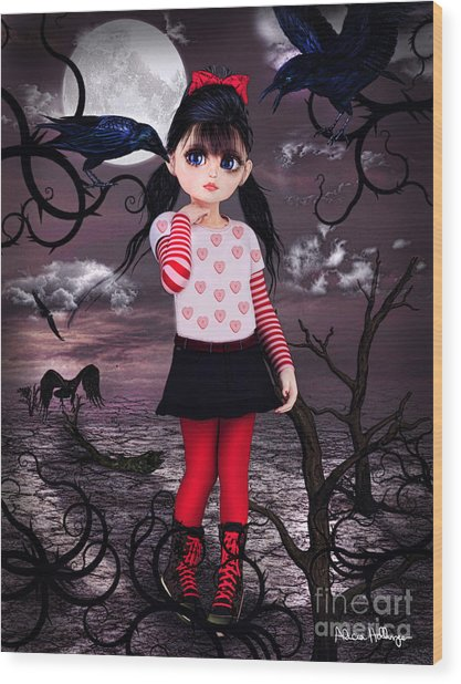 Lost Little Girl Wood Print