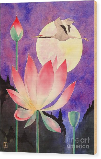 Lotus And Crane Wood Print