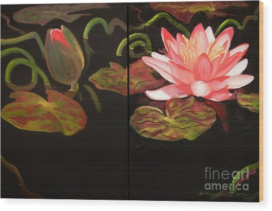 Lotus Bud To Bloom Wood Print