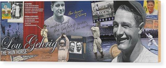 Lou Gehrig Panoramic Wood Print