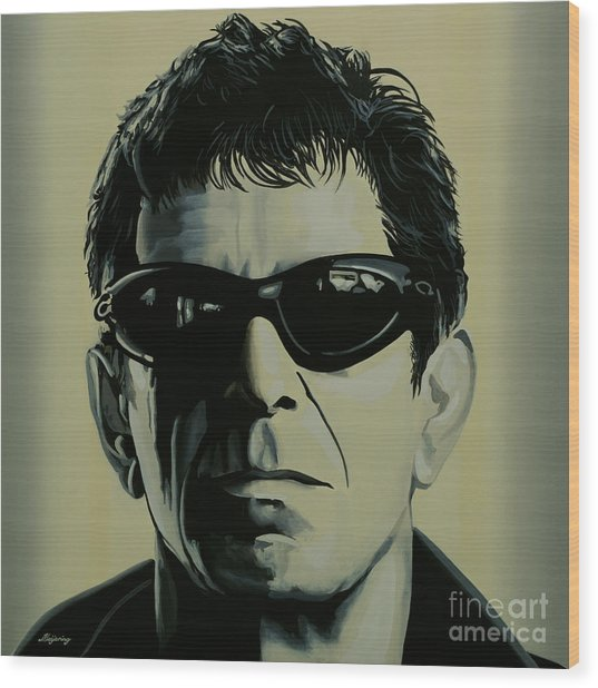 Lou Reed Painting Wood Print