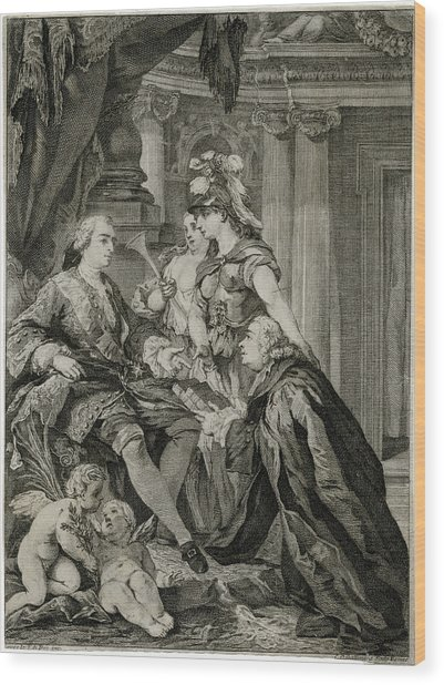 Louis Xv             Accepts Wood Print by Mary Evans Picture Library