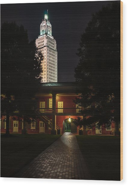 Louisiana State Capitol And Pentagon Barracks Wood Print