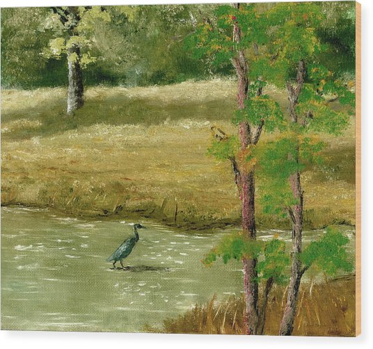 Louisiana Pond With Heron Wood Print