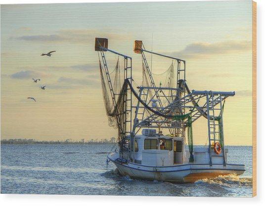 Louisiana Shrimping Wood Print