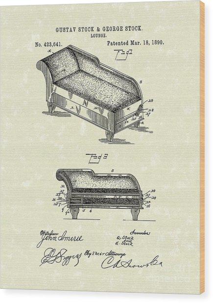 Lounge 1890 Patent Art Wood Print